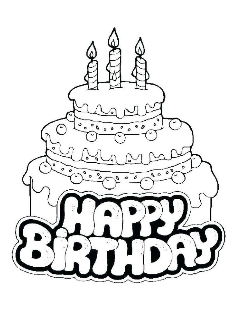 25 Birthday Cake Coloring Pages Ulang Tahun Warna Gambar