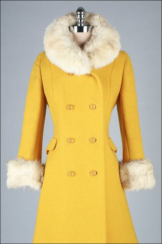 60s Yellow Wool Winter Coat Jacket S