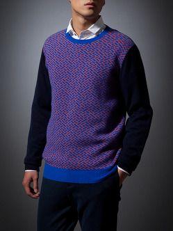 Lattice Cashmere-Silk Pullover