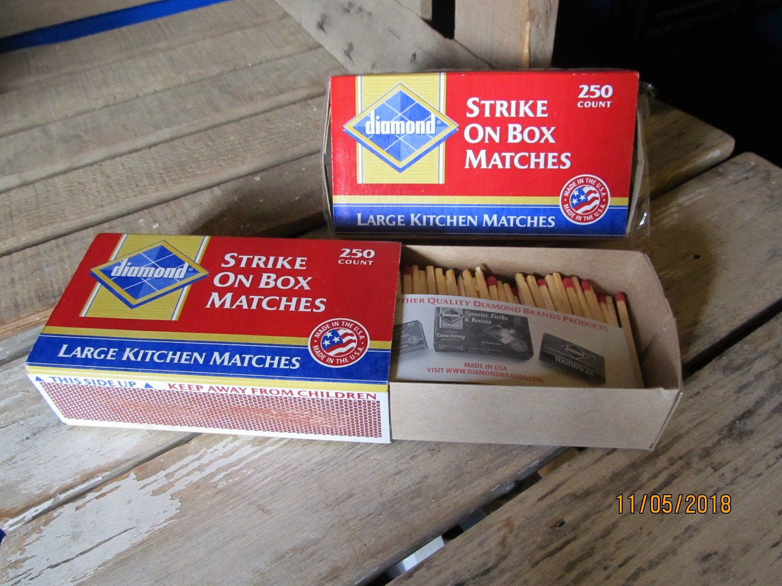 Kitchen Matches Foam Mats Vintage Diamond Red Tip Wood Wooden Large 2 Boxes Made In U S A Strike On Box By Eventhekitchensinkoh Etsy