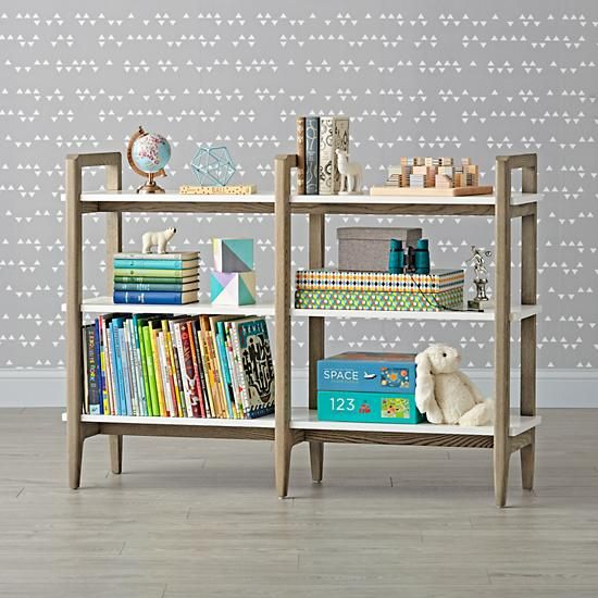 Wrightwood Grey Stain And White Wide Bookcase The Land Of Nod White Bookcase Wide Bookcase Bookcase