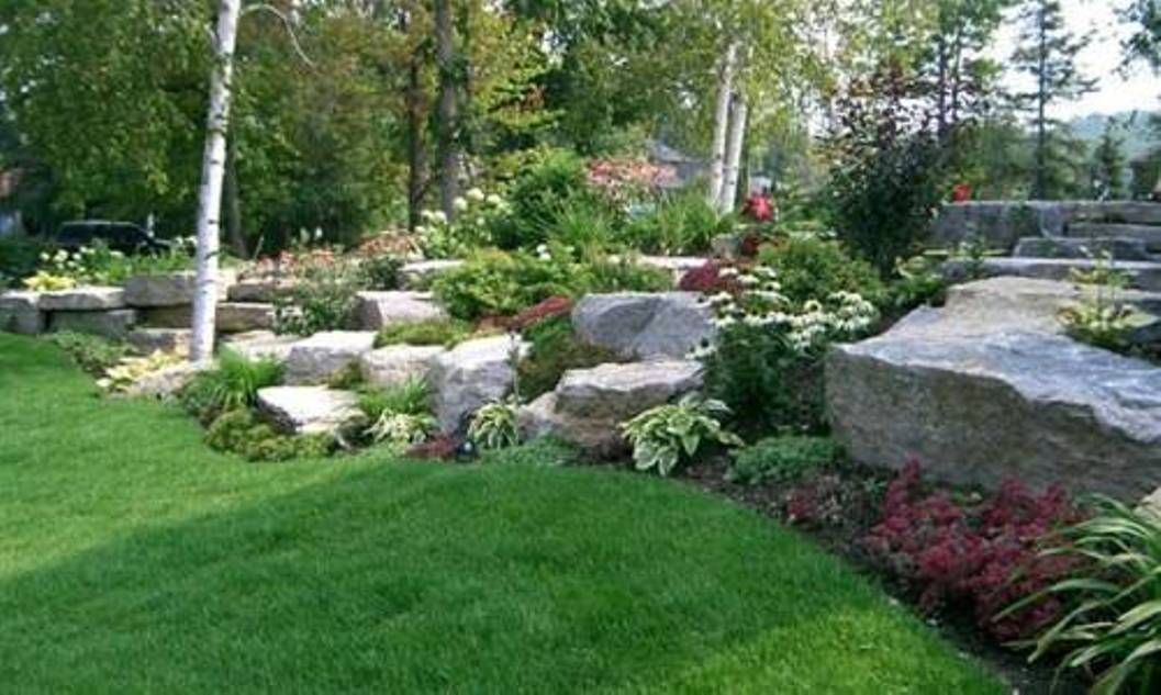 Garden And Lawn , Natural Rock Garden Ideas : Large Rock Garden ...