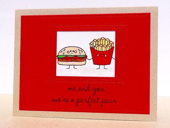 Birthday Card Food Puns ~ Anniversary card birthday card perfect pair food pun burger and