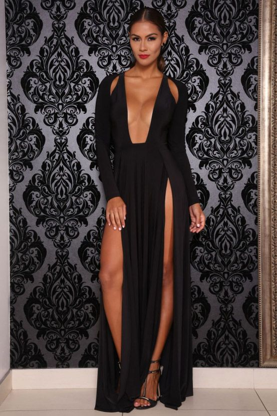 black long sleeve sexy double slit a-line open neck floor length prom dress cbbd91fef