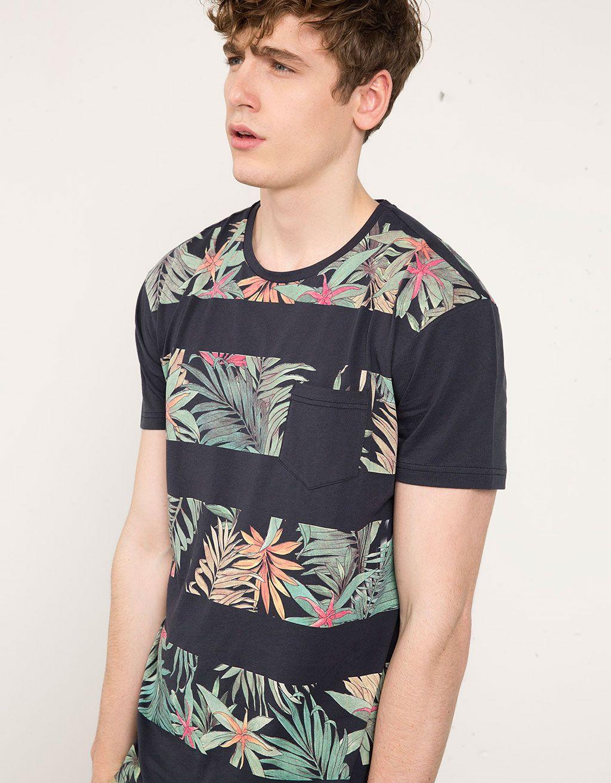 Camiseta flores y rayas - Camisetas - Bershka España  1eaf2701b4d13