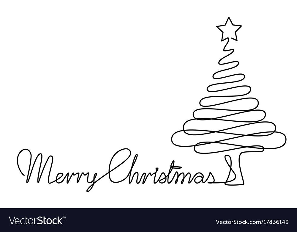 Holiday One Line Drawing With Abstract Christmas Tree Download A Free Preview Or High Quality Adobe Tree Line Drawing Christmas Tree Drawing Easy Line Drawing