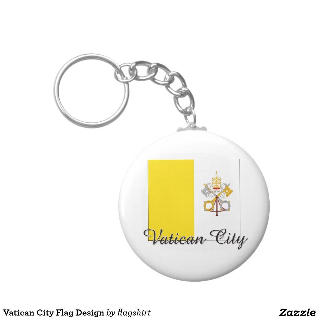 Vatican City Flag Design Basic Round Button Keychain