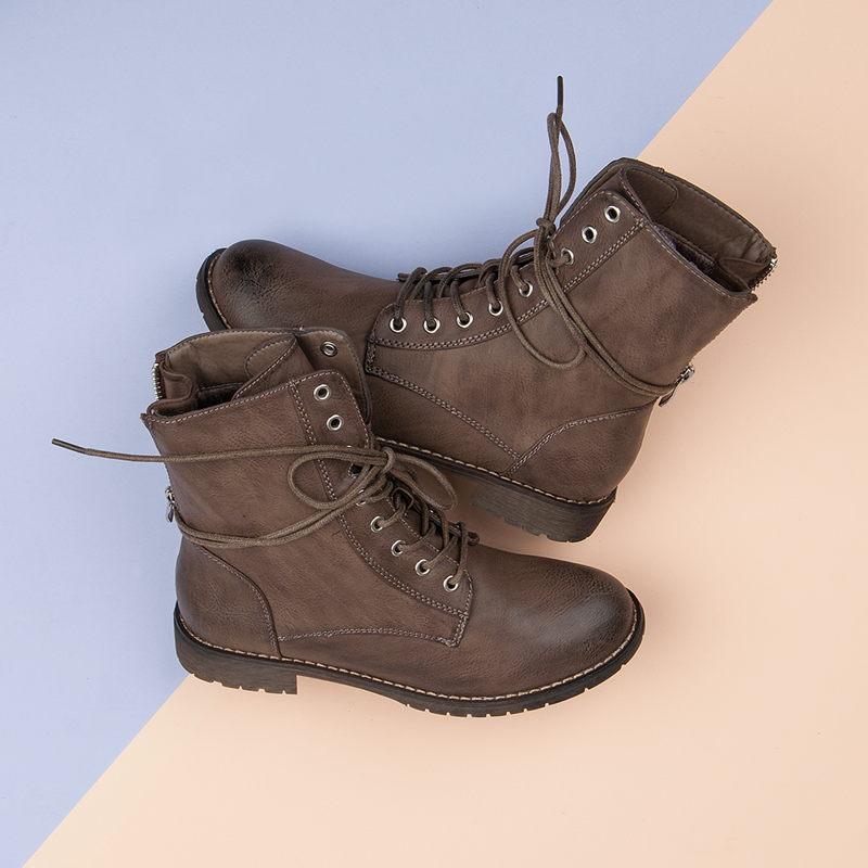 Wiazane Botki Workery Combat Boots Shoes Boots