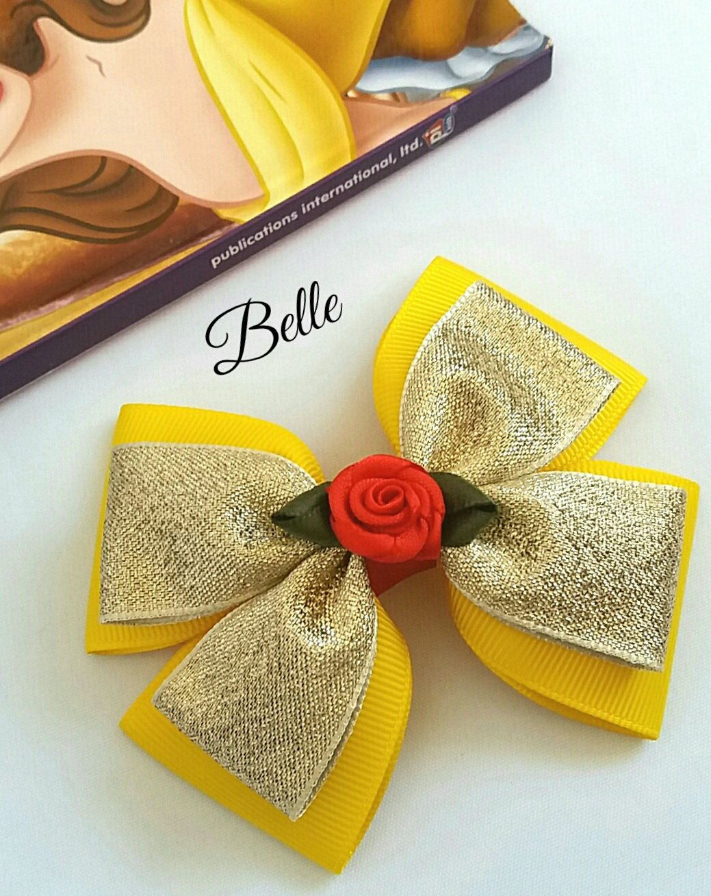 gorgeous handmade Disney belle beauty and the beast gold glitter hair bow clips