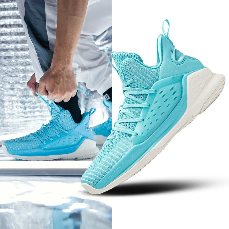 Anta Klay Thompson KT4 Splash Men's Mid Basketball Shoes  Bright Blue is part of Shoes - This anta basketball shoes is KT Splash Light series, it uses new AFlashfoam wormhole design to make shoes cushioning and responsive  Now this men's mid klay thompson basketball sneakers for sale on anktshop com Highlights1  AFlashfoam tech midsole, pr