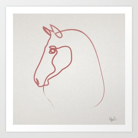 One line Horse 1606 Art Print by quibe