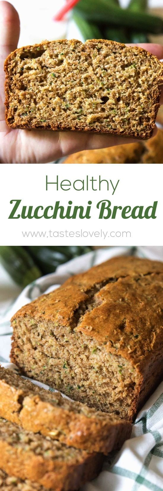 Zucchini Bread Recipe - made with half the amount of sugar, whole wheat flour, greek yogurt & coconut oil. A healthier zucchini bread you can enjoy without the guilt!
