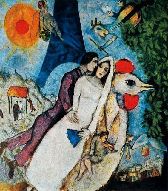 Marc Chagall The Bridal Pair With Eiffel Tower Les Maries
