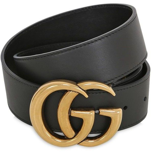 33c4b9497 Gucci Women 40mm Gg Marmont Leather Belt ($480) ❤ liked on Polyvore  featuring accessories, belts, black, adjustable leather belt, gucci belt,  gucci, ...