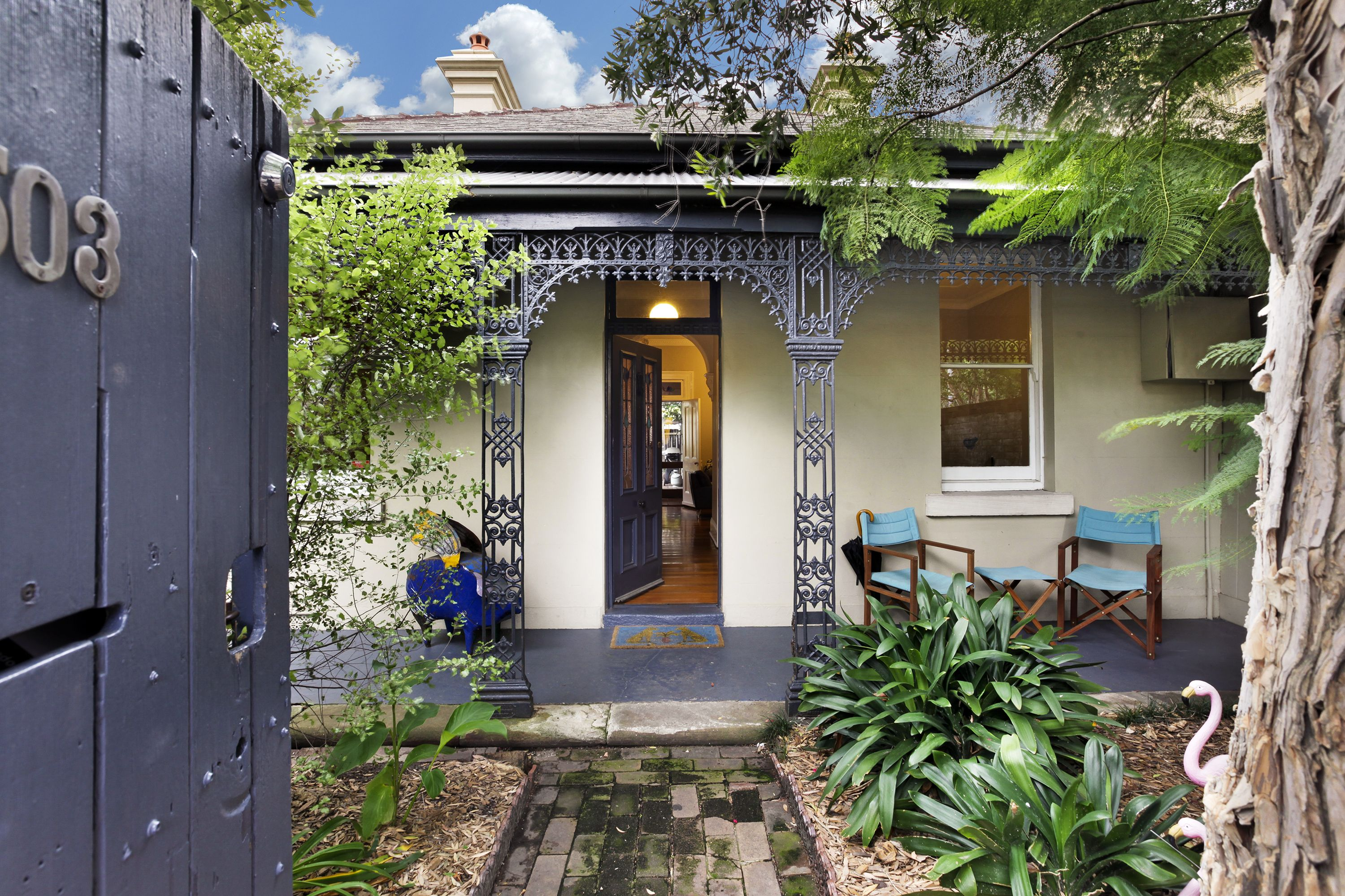 Welcome Home Through This Private Front Courtyard Complete With A Cheeky Pink Flamingo Cobden Hayson Sydney Real Estate