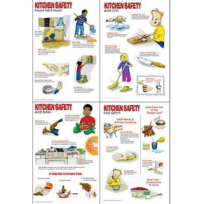 Kitchen safety worksheets kitchen safety poster set for 5 kitchen safety hazards