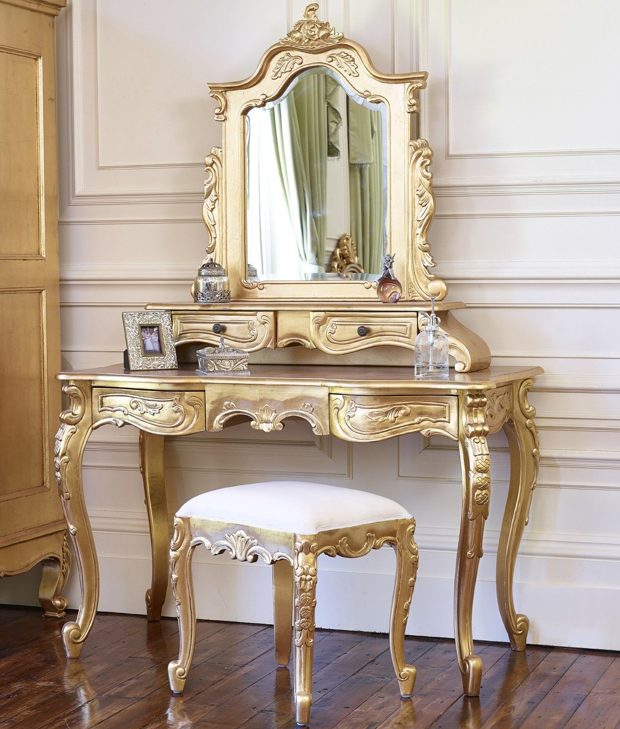 Dressing table with mirror dolce pavone gold leaf dressing table mirror and stool  dressing