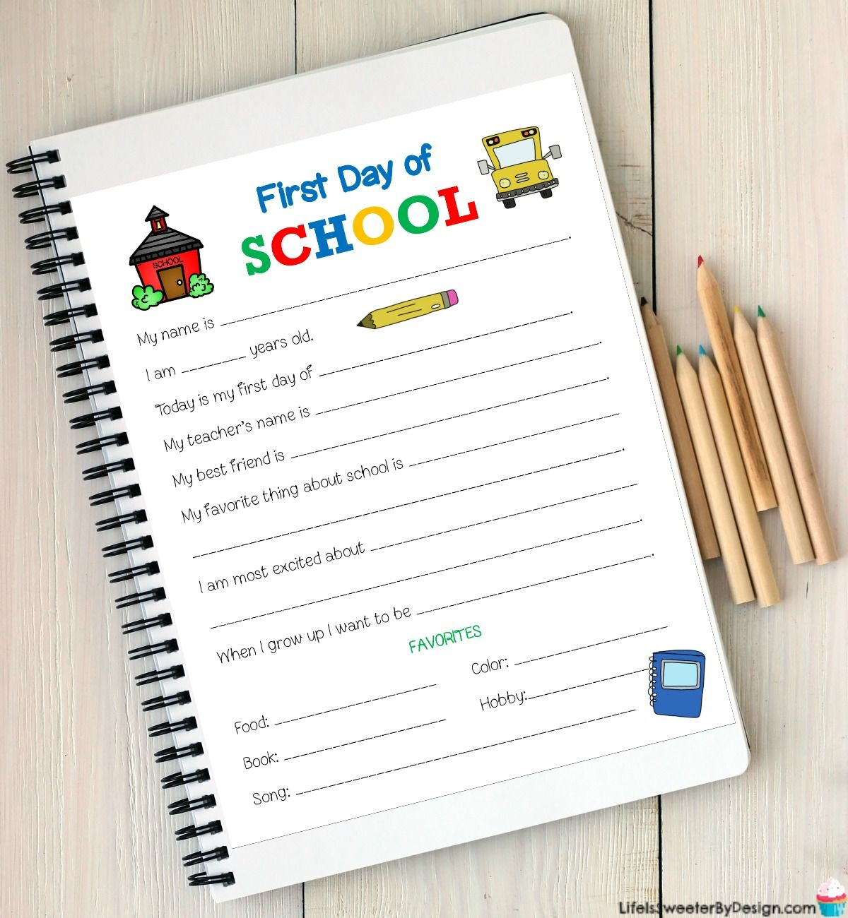 First Day Of School Printable Worksheet Will Provide Your