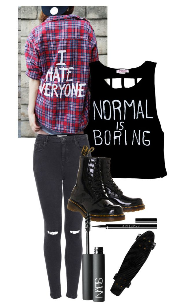 """When the lights go out, she's all I ever think about. The picture burning in my brain kissing in the rain. I can't forget my English love affair."" by someone-xx ❤ liked on Polyvore featuring Topshop, Dr. Martens, NARS Cosmetics and Givenchy"