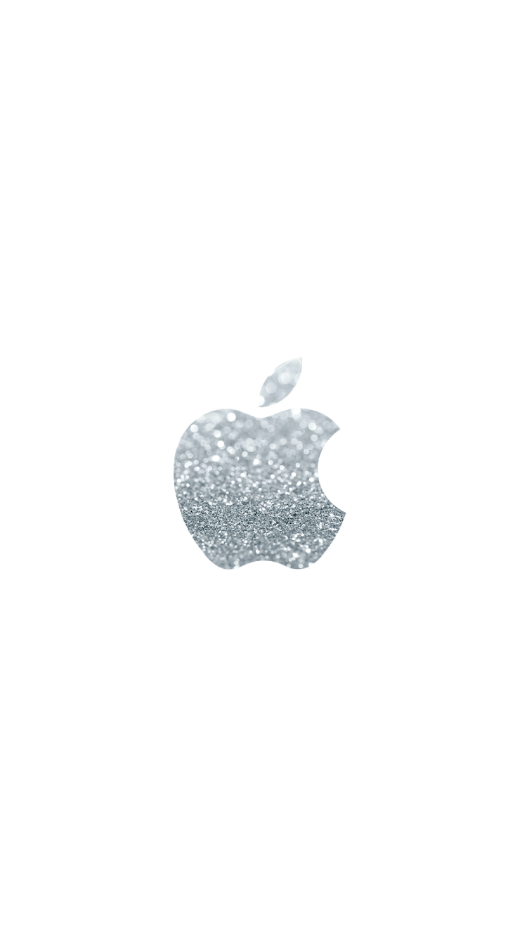 Silver Glitter Apple Logo 750 X 1334 Wallpapers Available For Free