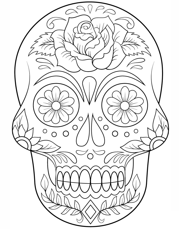 Calavera Outline Skull Coloring Pages Sugar Skull Drawing