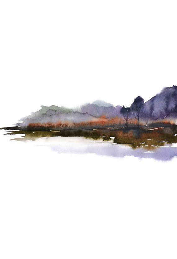 NancyKnightArt.etsy.com Pastell-Farben Aquarell Landschaft Druck ...