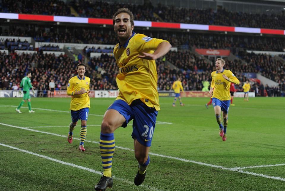 Flamini Celebrates His Goal vs Cardiff 2013-2014.