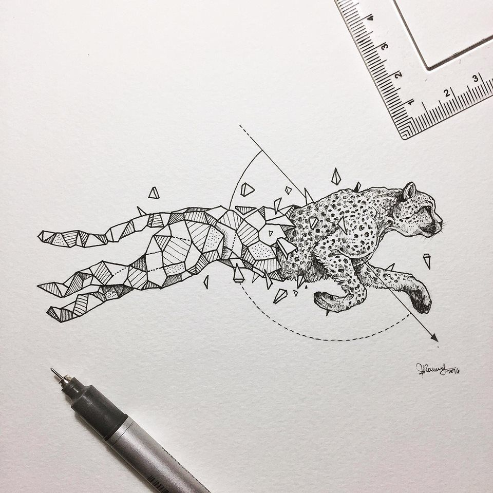 Line Drawing Animal Tattoos : Geometric beasts cheetah kerby rosanes pinterest