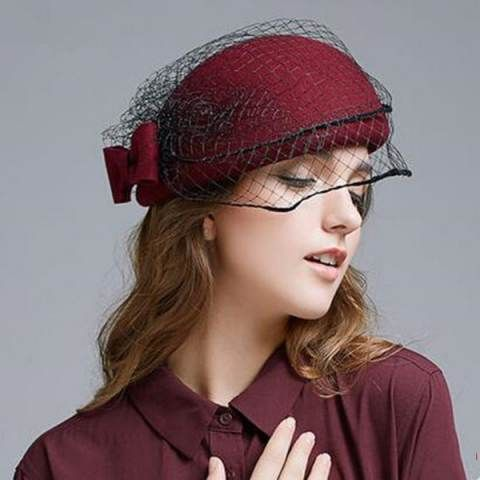 5f05e6cb620 Charming bow beret hat with veil for women winter wine felt hats ...
