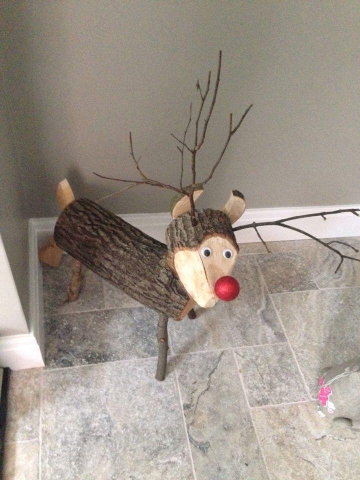 Log Reindeer Christmas Wooden Reindeer Wood Reindeer
