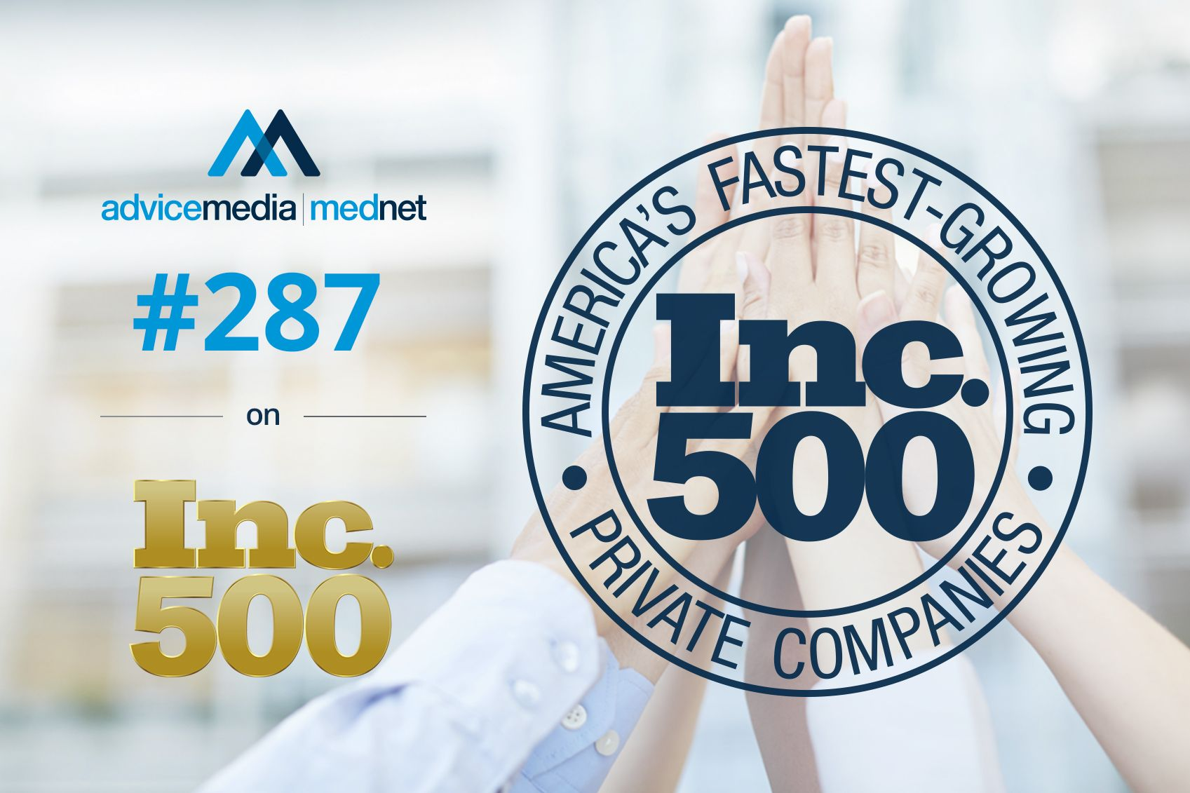 So honored to be #287 on Inc.'s 500 list!