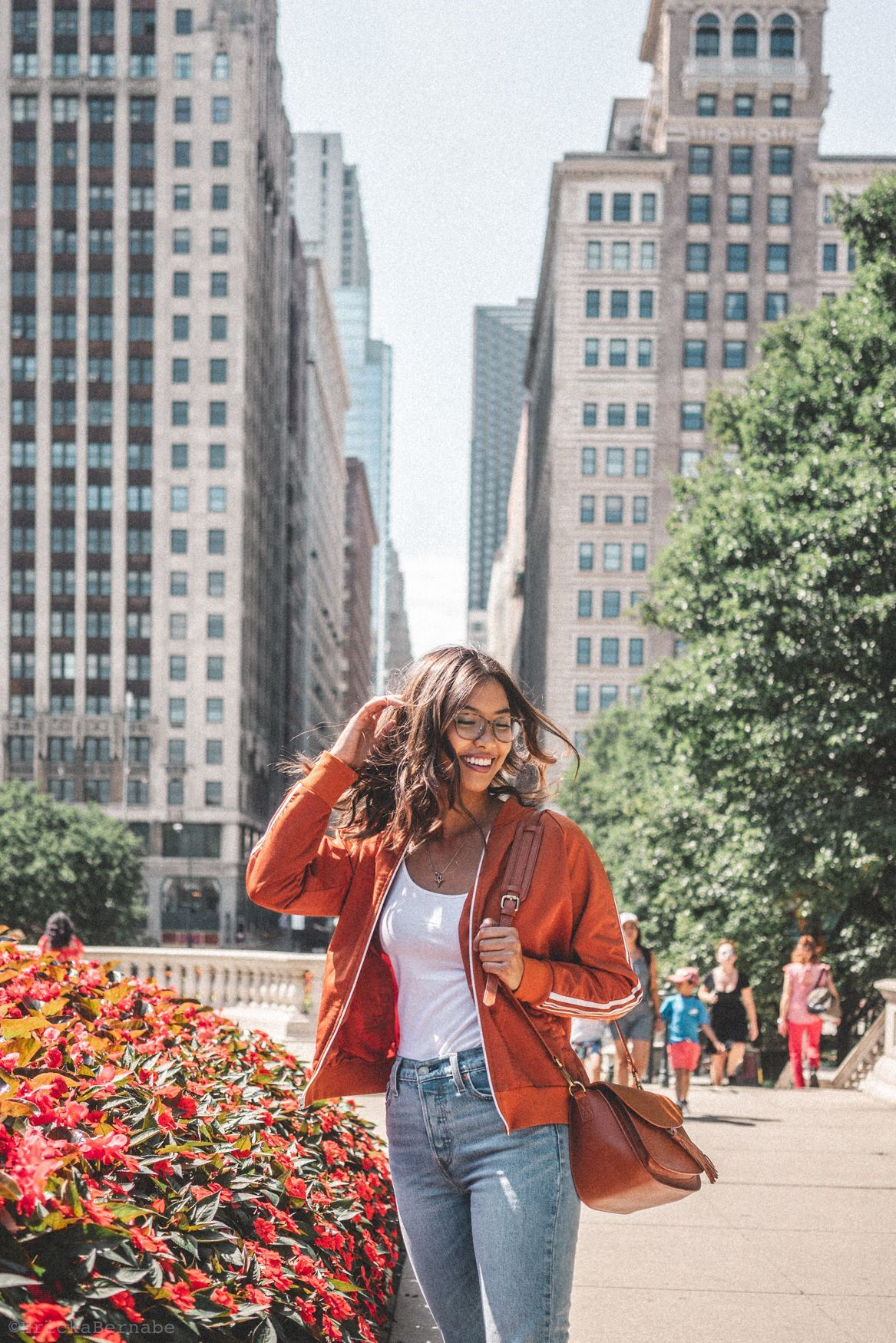 Chicago Travel Diaries Travel Photography Golden Hour Photography Green Jump  Chicago Travel Diaries Travel Photography Golden Hour Photography Green Jumpsuit Fashion Sty...