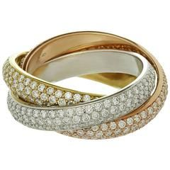 cartier trinity de cartier diamond 3 color Gold band Ring