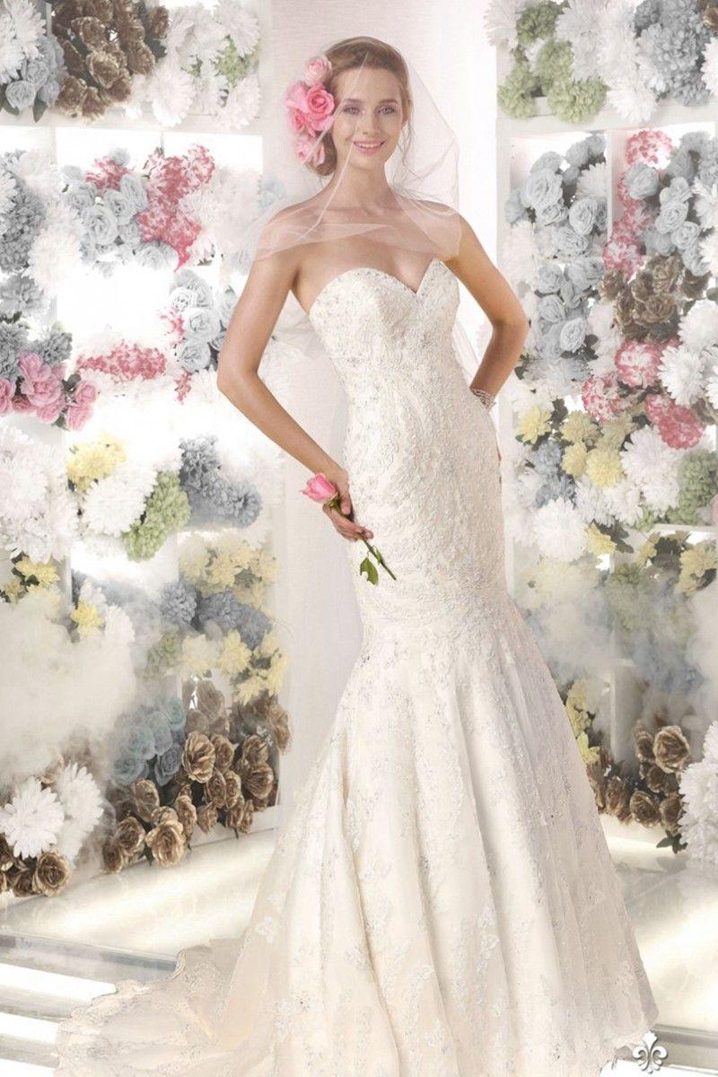 Flamboyant strapless taffeta and lace mermaid wedding dress