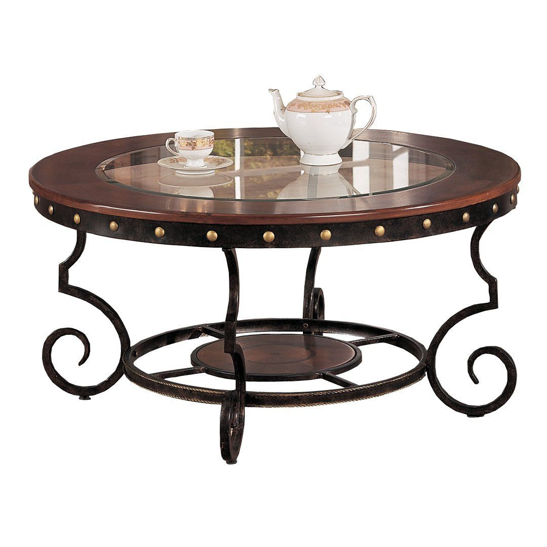 Poundex Firebird Series Coffee Table Round Gl And Rod Iron Finish