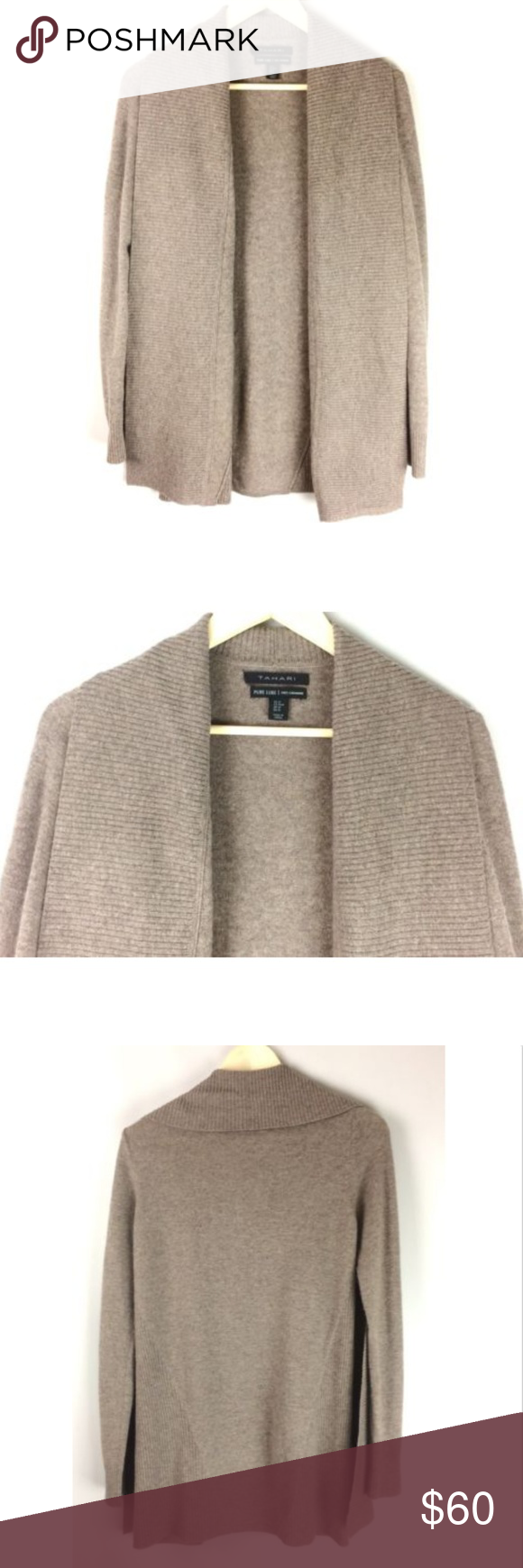 TAHARI Pure Luxe Cashmere Open Cardigan Sweater | Open
