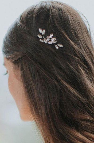 Silver Leaf Rhinestone Hair Pins