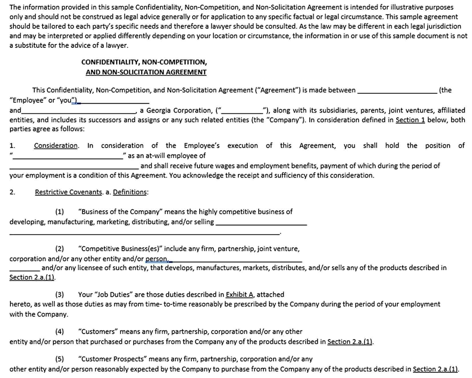 Employee Non Compete Agreement Template Business Template Rental Agreement Templates Competing