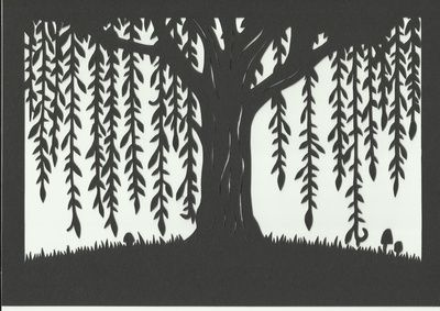 Woodland Willow Tree Silhouette Scene Art Print Of