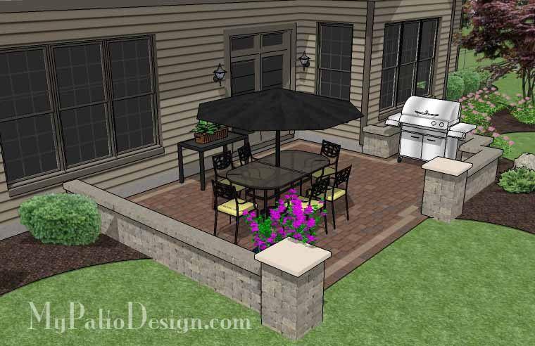 Diy Rectangular Patio Design With Seating Wall 320 Sq Ft Installation Plan