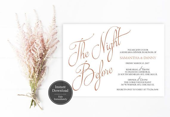 Dinner Invitation Template Editable Rose Gold Rehearsal Dinner Invitation Template  Printable .