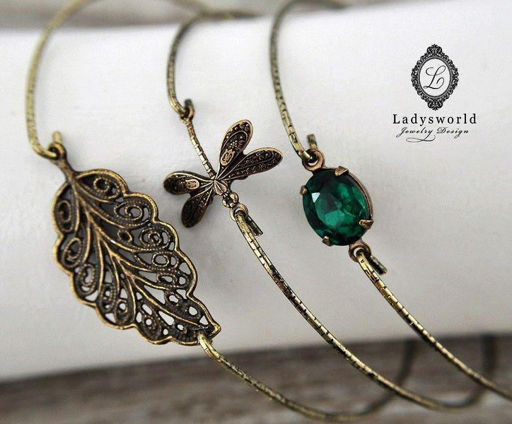 """Autumn Shimmer"" Set of 3- Bangle Bracelet van Ladysworld op DaWanda.com"
