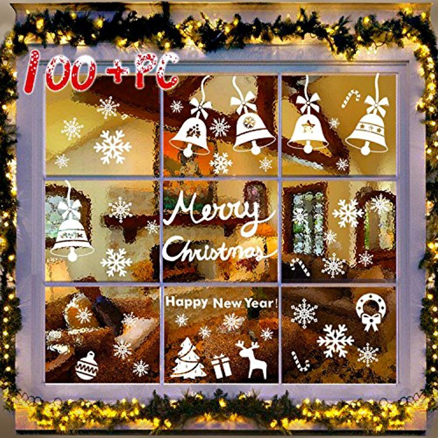 107 Pcs 3 Sheets Snowflakes Window Clings Pvc Winter Decal