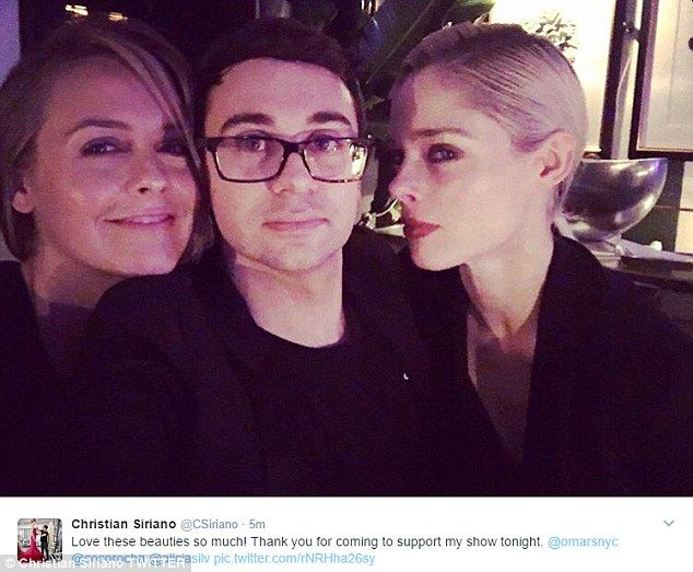 Gratitude: The designer tweeted this selfie with Coco and Alicia thanking them for their support