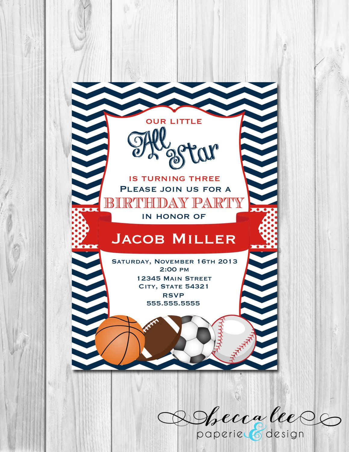all star sports birthday party invitation basketball football