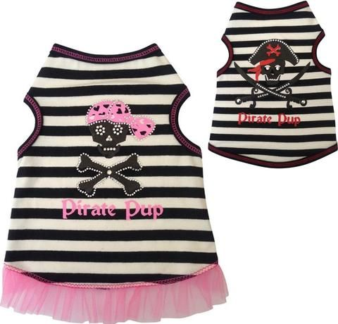 Pirate Pup Tank Top in 2 colors Black/Red or Pink/Black - Daisey's Doggie Chic - 3