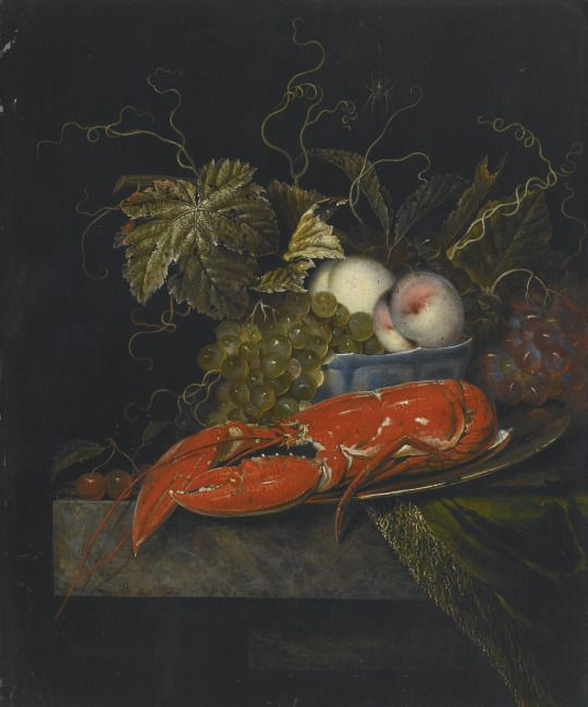 Still Life with Grapes, Peaches and a Lobster, All on a Marble Ledge, 1665, Ottmar Elliger the Elder