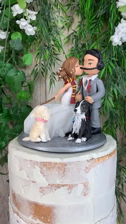 Gamer and Gryffindor Wedding Cake Topper Figurine