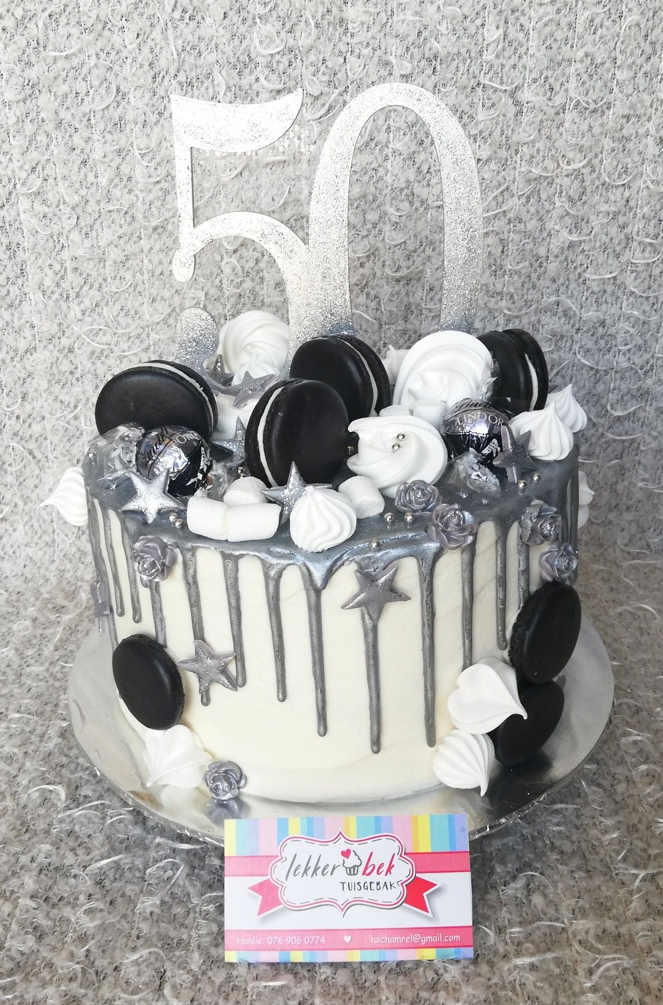 Astonishing 50Th Birthday Cake With White Buttercream Frosting And Silver Funny Birthday Cards Online Alyptdamsfinfo