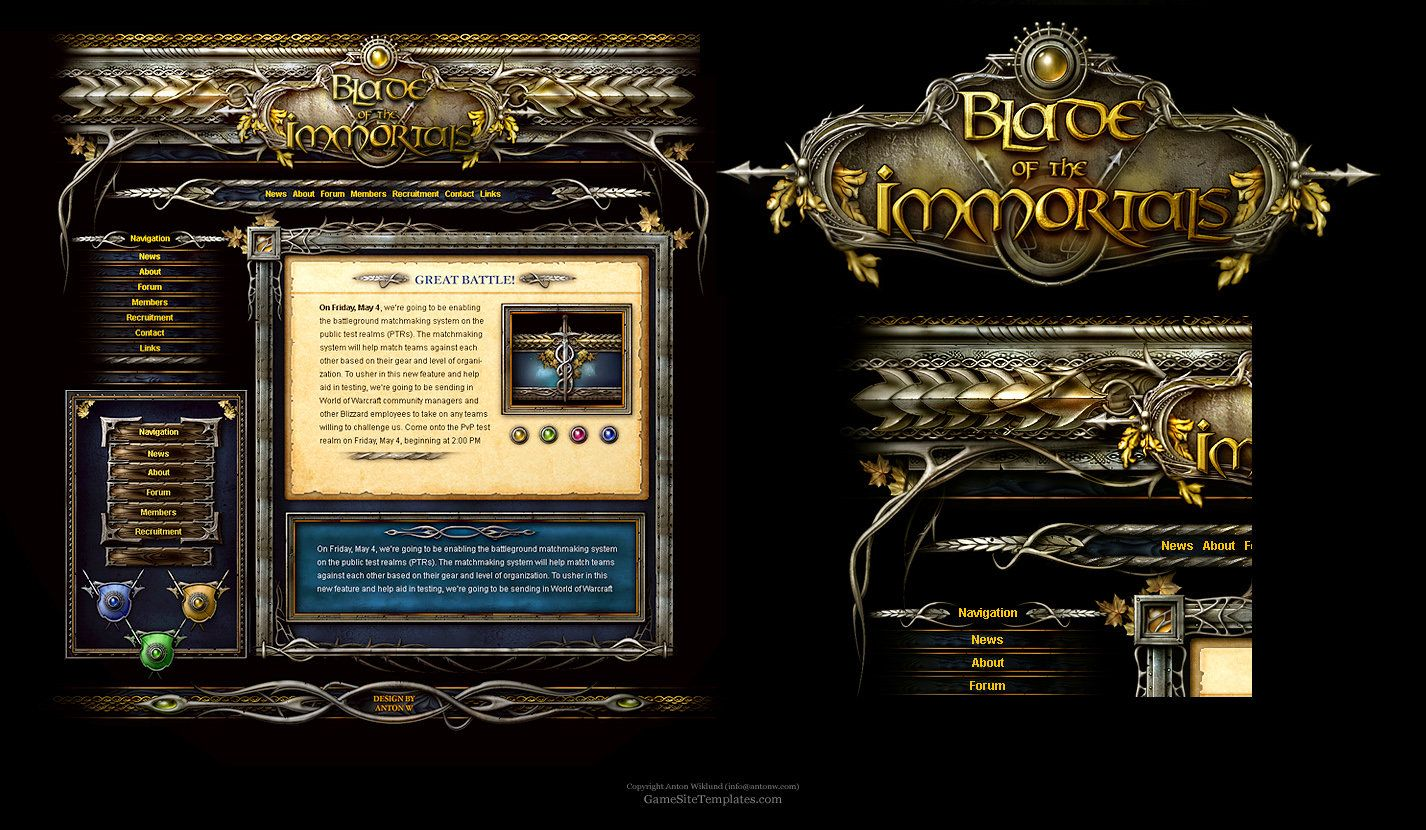 This is a Fantasy Website Template Design. (Photshop template, Forum ...